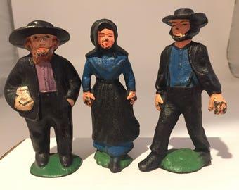 Vintage Cast Iron Folk Art Amish Pennsylvania Dutch Collectibles Figurines/Set of 3