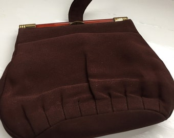 Vintage Brown Handbag / Clutch Bag with Small Strap