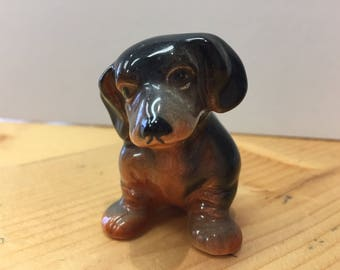 Vintage Ceramic Dachshund Ornament Cute Kitsch Collectable Made in England