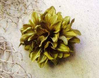 Sea green/olive Tropical silk flower hair clip