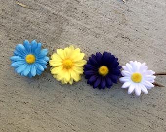 Daisy hair clips - set of four