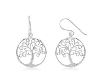 Rhodium plated Sterling Silver Tree of Life hoop Earrings