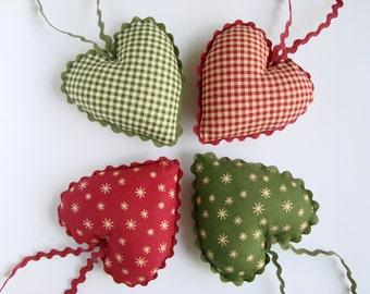 Cotton Fabric Hearts, Christmas Tree Ornaments, Set of 4, Party Favors, Rustic Decor, Country Decoration, Xmas Holiday Decorating, Red Green