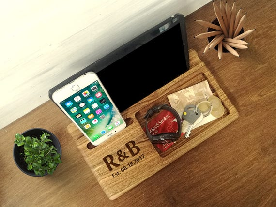 5th Anniversary Gift Wood Anniversary Wood Docking Station
