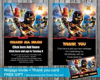 Ninjago Birthday Invite and Thank You Card + FREE gift = A4 page with 8 business card size Thank you for coming message