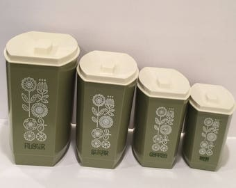 Vintage Canisters, Retro Avocado Green Canisters,  Vintage Plastic Canisters, Midcentury  Canisters
