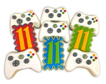 Xbox Game Controller Cookies with Birthday Plaques - 2 Dozen