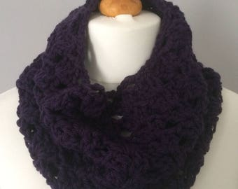 Stunning, one of a kind, ooak, handmade, crochet, purple, shell stitch, chunky, cowl, scarf, ladies, gift