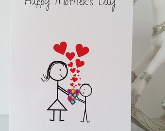 Mother's Day Card Son, Mom, Mam, Mum, Son, Mother's Day Card, Flowers, Wedding, Birthday, New Baby, Love, Father's Day, Stickmen, Handmade