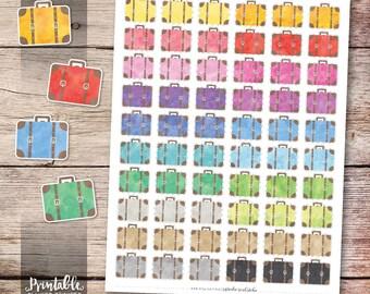 Suitcase Printable Planner Stickers, Watercolor Vintage Suitcase Stickers, Travel Planner Stickers, Erin Condren Planner Stickers, Cut File