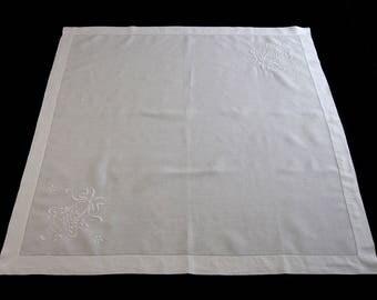"""Vintage White Linen Embroidered Tablecloth, Tea Tablecloth, Bridge Tablecloth, Luncheon Tablecloth, Flower Basket– 35"""" x 35.5"""" (cv1703)"""