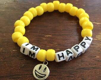 I'm Happy // Festival Rave Kandi Charm Bracelet // with smiley face charm