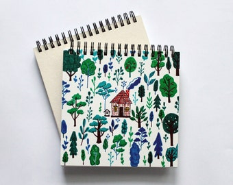 Forest watercolor Sketchbook, Blank journal, Notebook, Notepad, Drawing notebook, blank pages, watercolor paper, forest print
