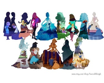 Disney Princess Silhouettes framed prints - Duo