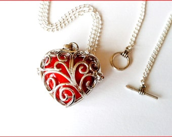 Necklace silver bird and musical Pearl red heart