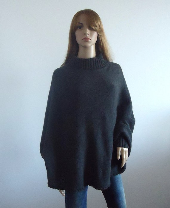 Sweater turtleneck cozy poncho warm dark gray brown Loose fit knit women  Hand knitted Women's Clothing knitted jumper 100% hand made