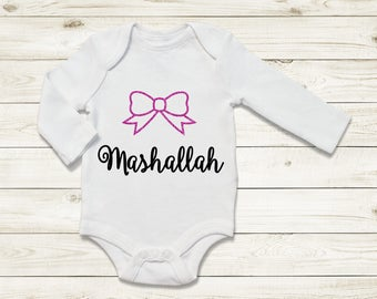 Mashallah bodysuit with bow | hasad | Muslim baby | Newborn gifts | baby shower gift | new mum|