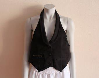 Women's Vest Black Vest Black Denim Women Vest Open Back Denim Vest Open Back Waistcoat Steampunk Edwardian Victorian Formal Fitted
