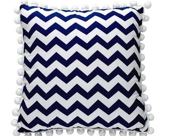 Pom Pom Pillow - Navy ZigZag