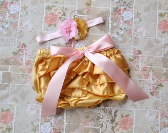 Gold and Pink Infant Toddler Bloomer Set with Bubblegum Necklace and Headband