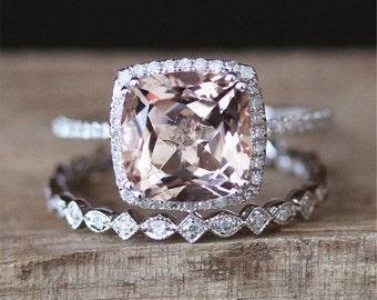 3ct Morganite Engagement Ring Set VS 9mm Cushion Cut Morganite Ring  Full Eternity Wedding Ring Set 14K White Gold Ring Set Bridal Set