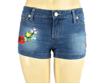 Multi Color Embroidered Denim Shorts, jeans shorts