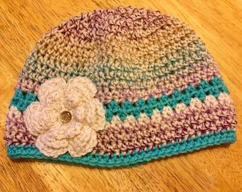 Multi-colored crochet hat, handmade beanie, toddler crochet hat, baby crochet hat, crochet flower hat, crochet beanie, handmade newborn hat