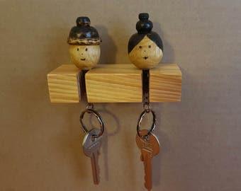 wooden handmade keychain soulmates...