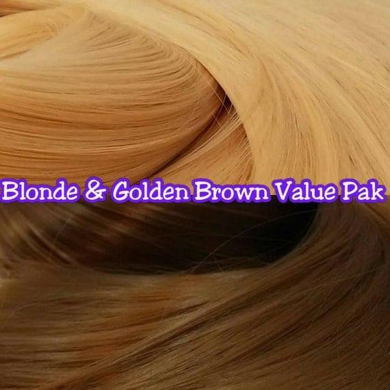 Blonde & Golden Brown 2 Hanks 4 oz Nylon rooting Doll Hair Value Pak for Custom Monster High, Ever After, Barbie, My Little Pony