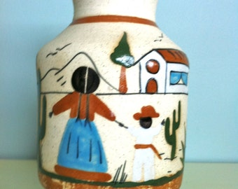 Mexico Tonala Pottery Vase - Mother and Child/Mexican Tonala Pottery/Hand Painted Vase/Stoneware Vase/Mexican Art/Mexican Pottery/Tonala art