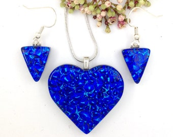 Blue with a hint of turquoise dichroic glass heart pendant and earrings