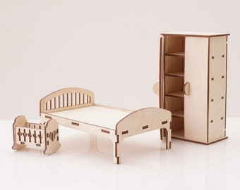 Furniture for Dollhouse reading Bedroom, Dollhouse miniature Furniture,Set of furniture dollhouse, wooden furniture, dollshouse miniature