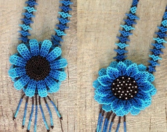 SALE Native Beaded Necklace Mexican Huichol tribal gypsy beaded flower blue necklace 2 sided hand made blue and black seed beads