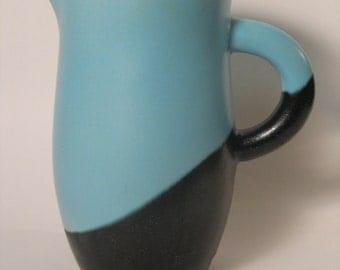 Big creative ceramic pitcher, blue and black