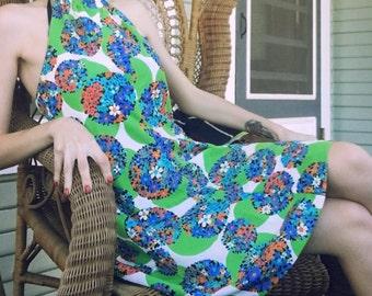 1960s Floral Print Halter Mini Dress