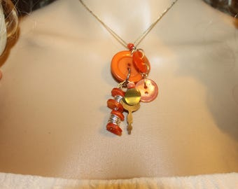 Orange Button Pendant Necklace --- Vintage Button with Key and Beads --- free shipping