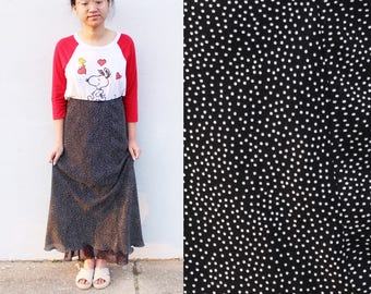 Polka Dot Black Maxi Skirt