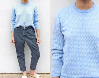 Baby Blue Knitted Crewneck Sweater Green Speckles