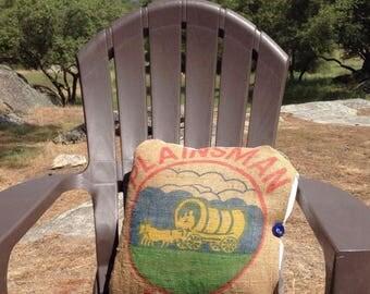 Plainsman Feedsack Pillow, Vintage Burlap Pillow, Throw Pillow, Grain Sack Decor, Decorative Pillow, Farmhouse Pillow, Feedsack Fabric