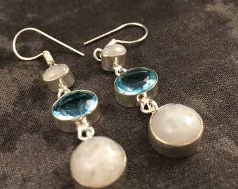 Handmade Blue Topaz, Rainbow Moonstone and Silver Earrings