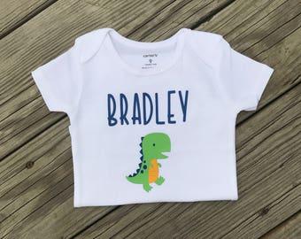 Personalized dinosaur Baby boy bodysuit, Personalized  Bodysuit, Bodysuit, Baby Boy Clothing, Baby Boy, Baby Shower Gift, Bino