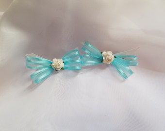 Blue Hair Clips    Blue Bows    Bow with Flowers    Hair Clips
