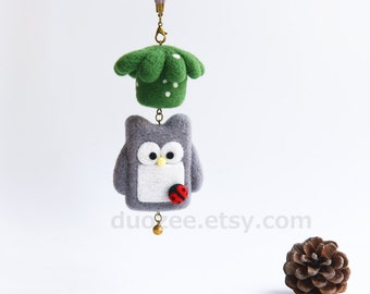 Handmade Needle Felted Owl Ornament,  Woodland Animals, Felted Owl, Felt Owl, Birdhouse Ornament