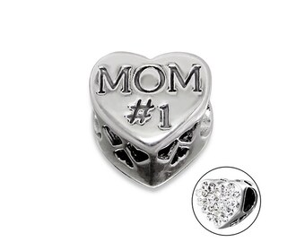 Mom #1 CZ Heart Charm Bead, 925 Sterling Silver, fits Pandora Bracelets