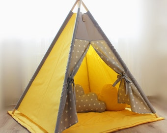 Kids teepee yellow gray stars - Play tent - Teepee - Kids gift - Baby gift - Childrens gift - Boys teepee - Girls teepee - Playhouse