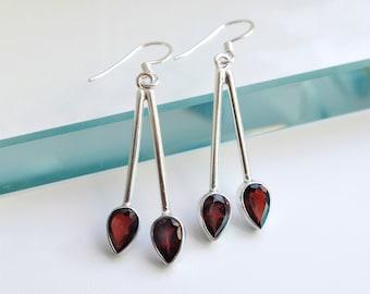Garnet Earrings, Birthday Gifts for mom, Red Earrings, January Birthstone, gift from daughter, girlfriend earrings gift, gifts for sister