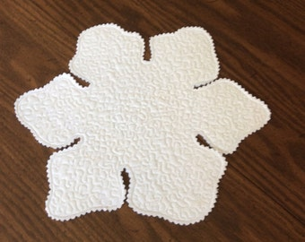 Snowflake fabric candle mat or table topper