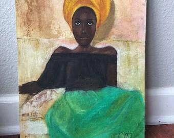 Acrylic and pastel impressionist portrait