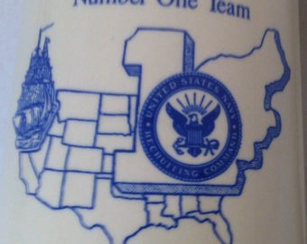 Vintage United States Navy Mug, Navy Recruiting Area One, Mug, Cup, Stein, Command Cup, Member Number One Team, Military Navy Cup, Mug