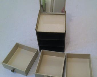 Vintage Metal Miniature Tiny 3 Drawer Cabinet, Made in Japan, Mirror Lid, 3 Pull Out Drawers, 5 x 4 1/2 x 3 1/2 inches, Jewelry Holder, Neat